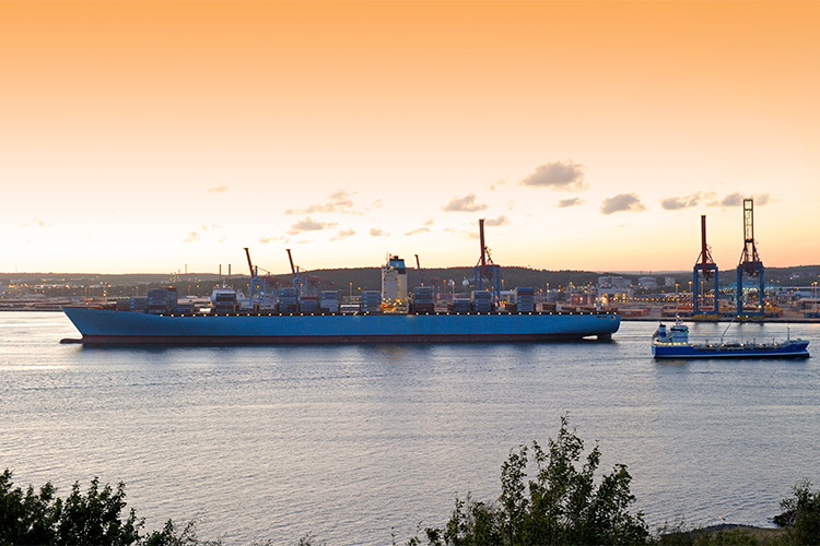 A large cargo ship in Gothenburg harbor
