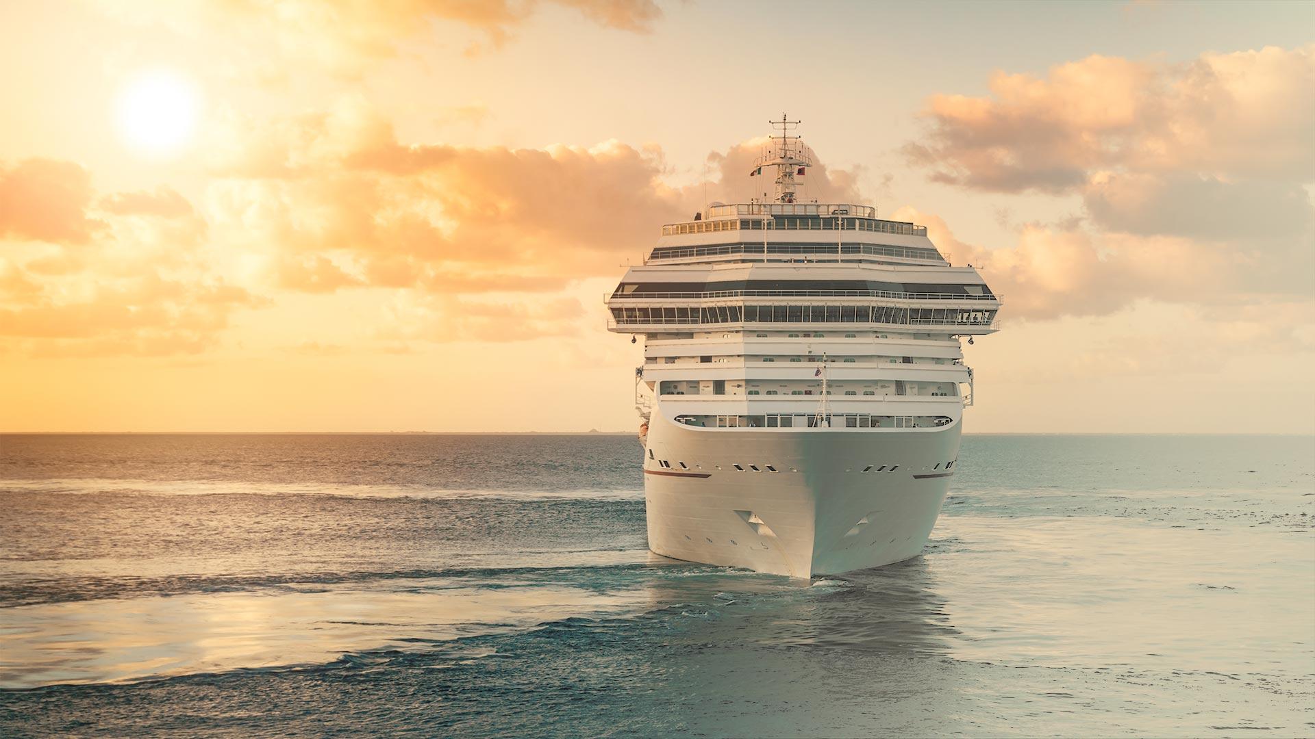 A cruise ship at sea